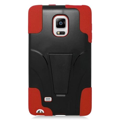Insten Hybrid Stand PC/Silicone Case For Samsung Galaxy Note Edge, Black/Red