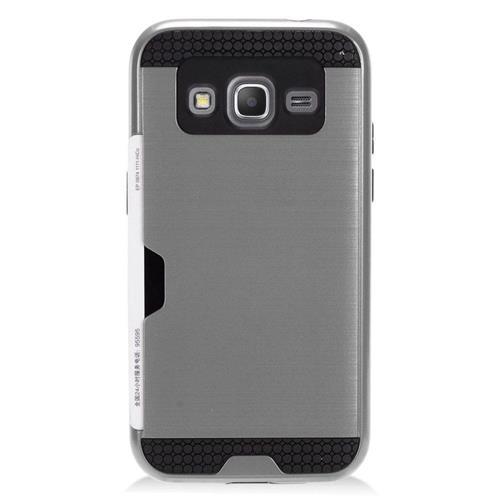 Insten Hybrid Hard PC/Silicone ID/Card Slot Case For Samsung Galaxy Core Prime, Gray/Black