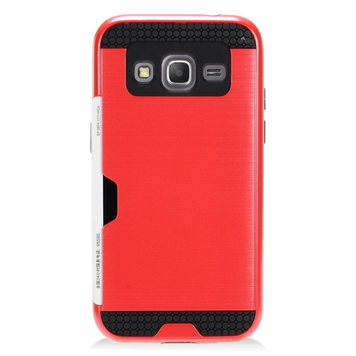 Insten Hybrid Rubberized Hard PC/Silicone ID/Card Slot Case For Samsung Galaxy Core Prime, Red/Black