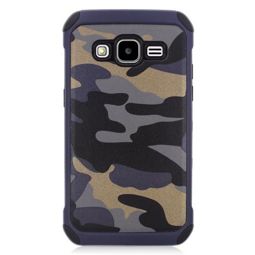 Insten Camouflage Hybrid Rubberized Hard PC/Silicone Case For Samsung Galaxy Core Prime, Gray/Black