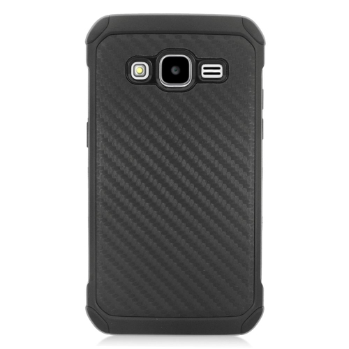 Insten Carbon Fiber Hybrid Rubberized Hard PC/Silicone Case For Samsung Galaxy Core Prime, Black