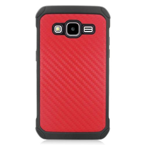 Insten Carbon Fiber Hybrid Rubberized Hard PC/Silicone Case For Samsung Galaxy Core Prime, Red/Black
