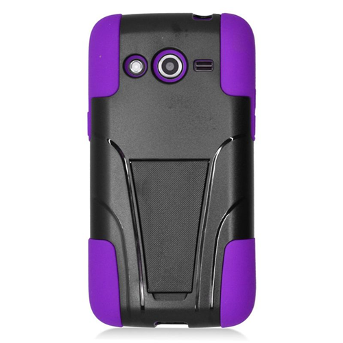 Insten Hybrid Stand PC/Silicone Case For Samsung Galaxy Avant, Black/Purple