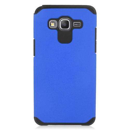 Insten Hybrid Rubberized Hard PC/Silicone Case For Samsung Galaxy Grand Prime, Blue/Black