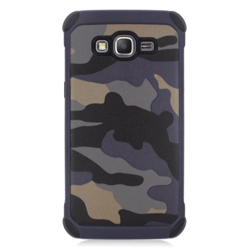 Insten Camouflage Hybrid Rubberized Hard PC/Silicone Case For Samsung Galaxy Grand Prime, Gray/Black