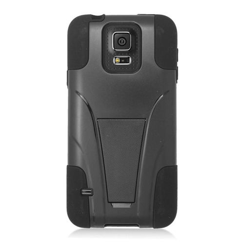 Insten Hybrid Stand PC/Silicone Case For Samsung Galaxy S5 Mini SM-G800H, Black