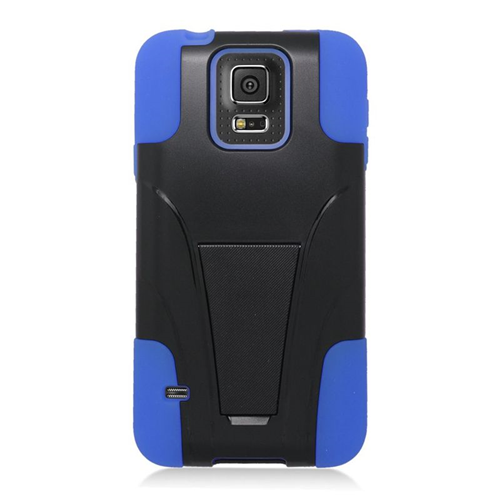 Insten Hybrid Stand PC/Silicone Case For Samsung Galaxy S5 Mini SM-G800H, Black/Blue