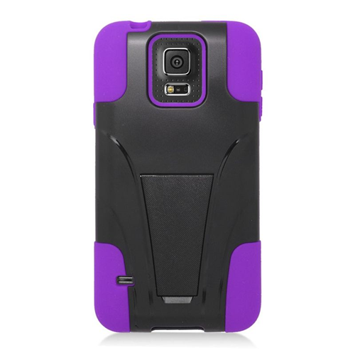 Insten Hybrid Stand PC/Silicone Case For Samsung Galaxy S5 Mini SM-G800H, Black/Purple
