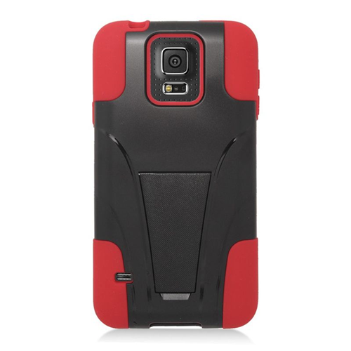 Insten Hybrid Stand PC/Silicone Case For Samsung Galaxy S5 Mini SM-G800H, Black/Red