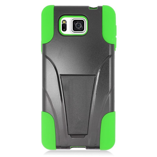 Insten Hybrid PC/Silicone Case For Samsung Galaxy Alpha SM-G850A/SM-G850T, Black/Green