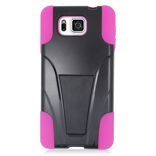 Insten Hybrid PC/Silicone Case For Samsung Galaxy Alpha SM-G850A/SM-G850T, Black/Hot Pink