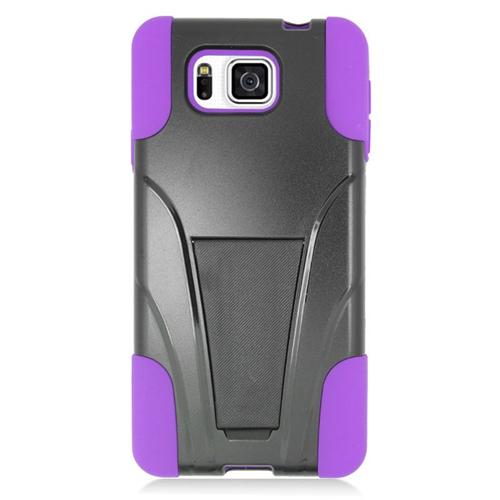 Insten Hybrid PC/Silicone Case For Samsung Galaxy Alpha SM-G850A/SM-G850T, Black/Purple