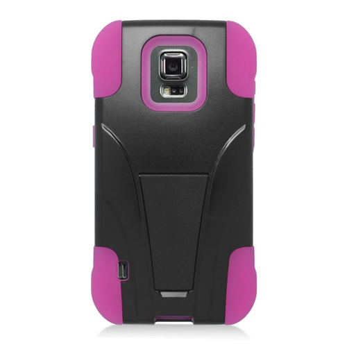 Insten Hybrid Stand PC/Silicone Case For Samsung Galaxy S5 Sport SM-G860P (Sprint), Black/Hot Pink