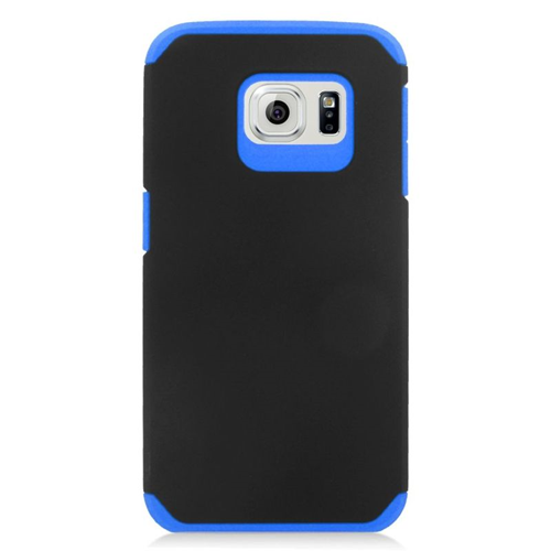 Insten Hybrid Rubberized Hard PC/Silicone Case For Samsung Galaxy S6 Edge, Black/Blue