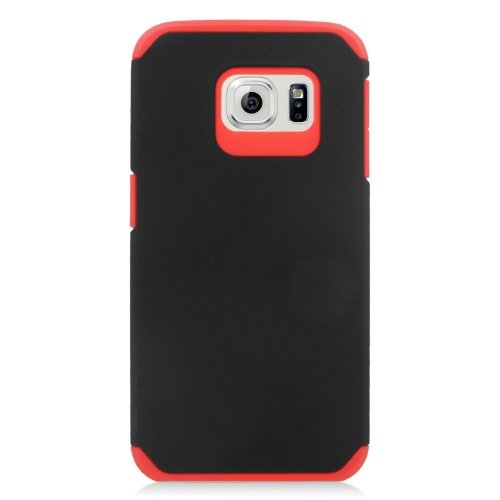 Insten Hybrid Rubberized Hard PC/Silicone Case For Samsung Galaxy S6 Edge, Black/Red