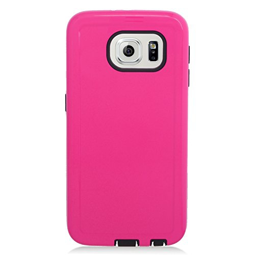 Insten Hybrid Rubberized Hard PC/Silicone Case For Samsung Galaxy S6 Edge, Hot Pink/Black