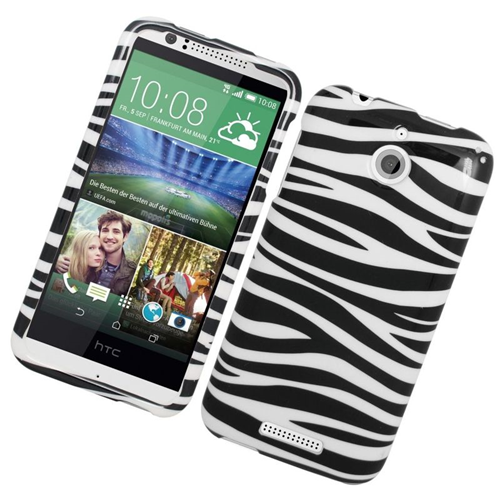 Insten Zebra Rubberized Hard Snap-in Case Cover Compatible With HTC Desire 510, White/Black