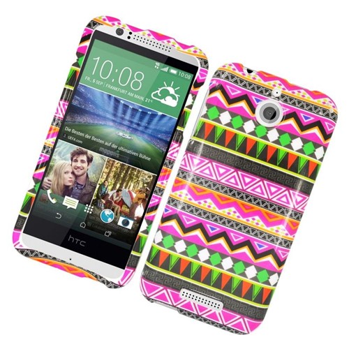 Insten Elegant Tribal Rubberized Hard Snap-in Case Cover Compatible With HTC Desire 510, Colorful