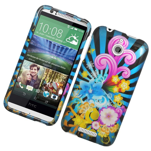 Insten Fireworks Rubberized Hard Snap-in Case Cover Compatible With HTC Desire 510, Colorful