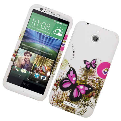 Insten Butterfly Rubberized Hard Snap-in Case Cover Compatible With HTC Desire 510, White/Pink