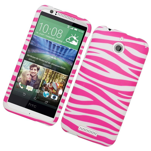 Insten Zebra Rubberized Hard Snap-in Case Cover Compatible With HTC Desire 510, Pink/White