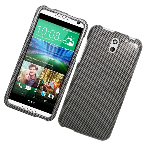 Insten Carbon Fiber Rubberized Hard Snap-in Case For HTC Desire 610/612 Verizon, Gray/Black