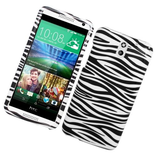 Insten Zebra Rubberized Hard Snap-in Case For HTC Desire 610/612 Verizon, White/Black