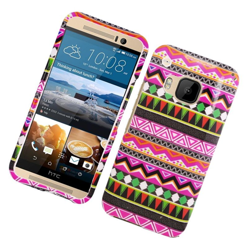 Insten Elegant Tribal Rubberized Hard Snap-in Case Cover Compatible With HTC One M9, Colorful