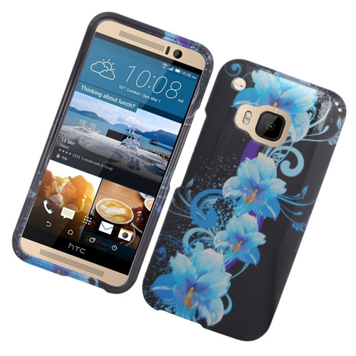 Insten Flowers Rubberized Hard Snap-in Case Cover Compatible With HTC One M9, Blue/Black