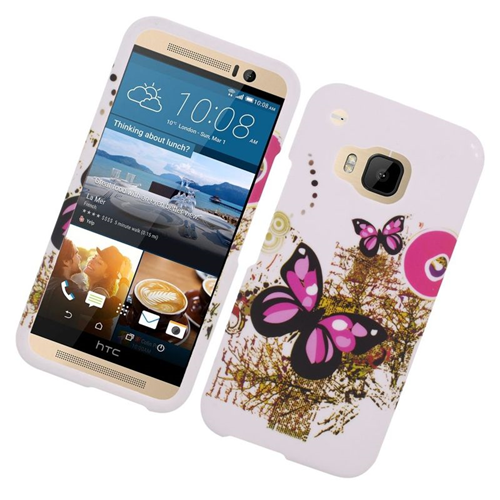 Insten Butterfly Rubberized Hard Snap-in Case Cover Compatible With HTC One M9, White/Pink