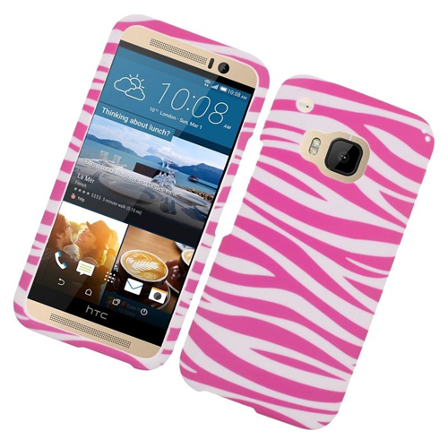Insten Zebra Rubberized Hard Snap-in Case Cover Compatible With HTC One M9, Pink/White