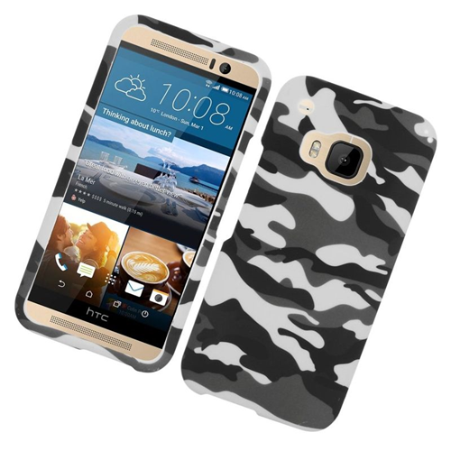 Insten Camouflage Rubberized Hard Snap-in Case Cover Compatible With HTC One M9, Gray/White