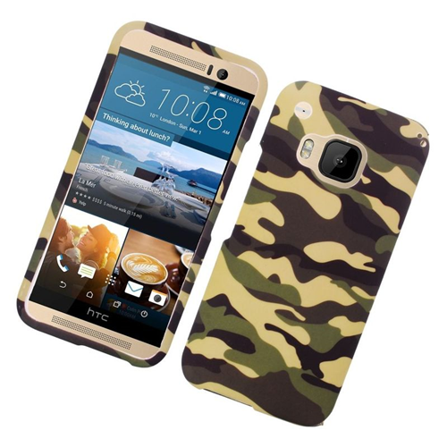 Insten Camouflage Rubberized Hard Snap-in Case Cover Compatible With HTC One M9, Brown