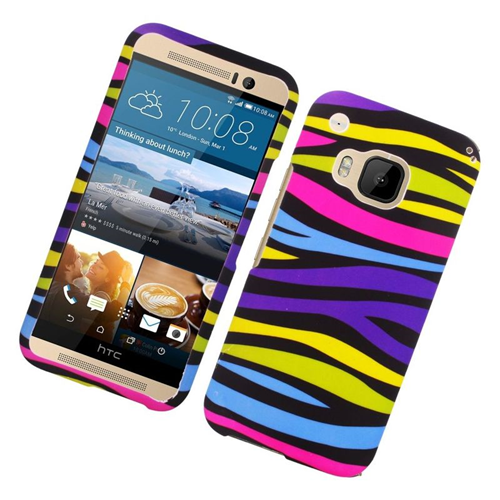 Insten Zebra Rubberized Hard Snap-in Case Cover Compatible With HTC One M9, Colorful