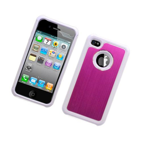 Insten Hard Hybrid Silicone Cover Case For Apple iPhone 4/4S, White/Hot Pink