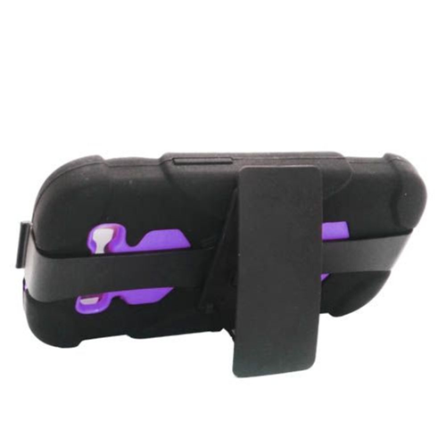 Insten Hard Hybrid Rubberized Silicone Case w/Holster For Samsung Galaxy S3, Black/Purple