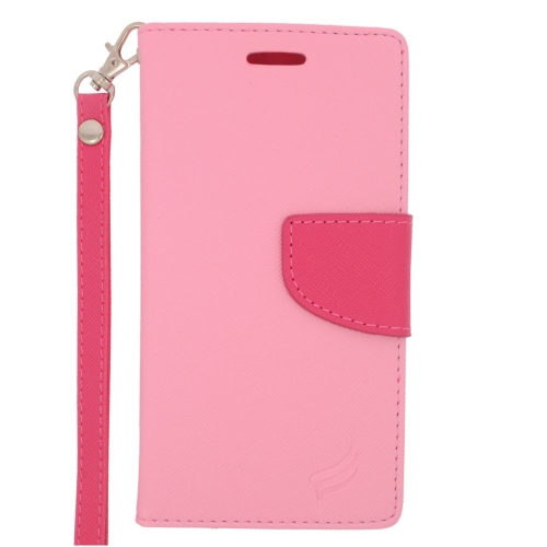Insten Leather Case Lanyard w/stand/card slot/Photo Display For Samsung Galaxy S6, Pink/Hot Pink