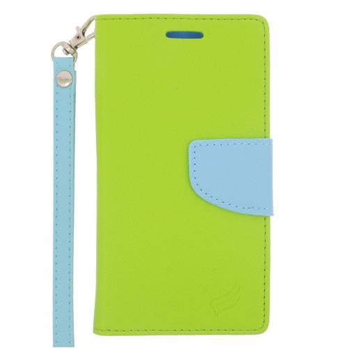 Insten Flip Leather Case w/stand/card holder/Photo Display For Samsung Galaxy S6, Green/Light Blue