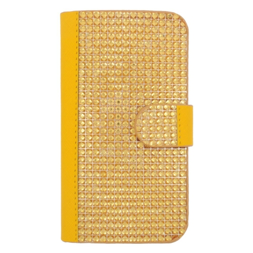 Insten Folio Leather Rhinestone Case w/card holder For Samsung Galaxy S6, Gold