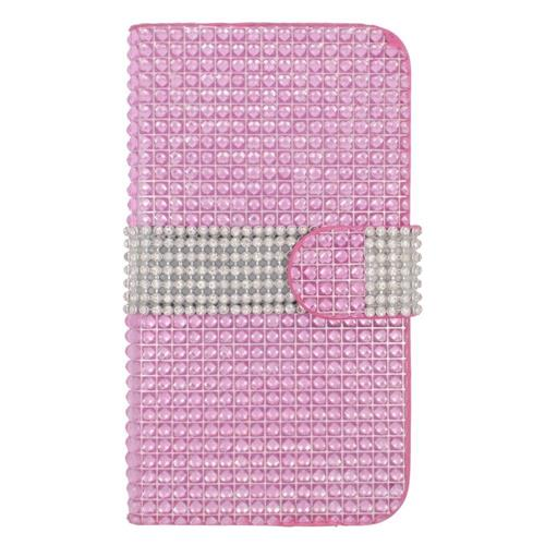 Insten Folio Leather Diamond Cover Case w/card holder For Samsung Galaxy S6, Hot Pink/Silver