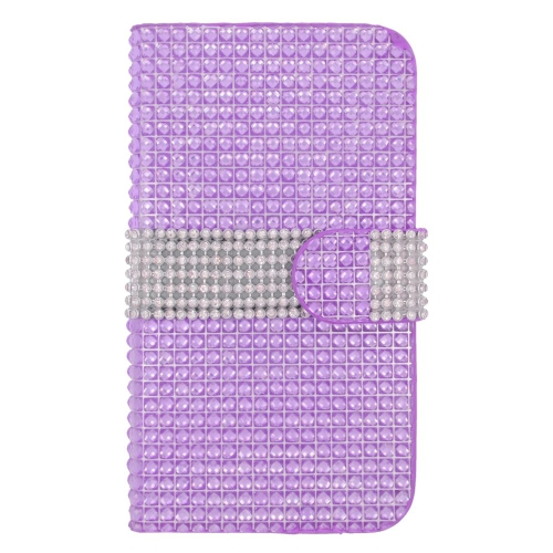 Insten Flip Leather Diamond Case w/card slot For Samsung Galaxy S6, Purple/Silver
