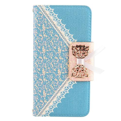 Insten Folio Leather Fabric Case w/stand/card holder For Samsung Galaxy S6, Light Blue/Gold