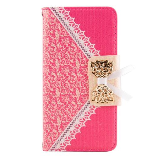 Insten Flip Leather Fabric Cover Case w/stand/card slot For Samsung Galaxy S6, Hot Pink/Gold