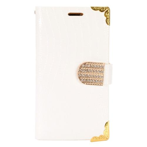 Insten Book-Style Leather Fabric Cover Case w/card slot/Diamond For Samsung Galaxy S7, White/Gold