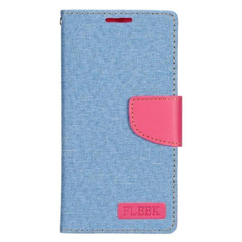 Insten Leather Fabric Case w/stand/card slot/Photo Display For Samsung Galaxy S7, Light Blue/Pink