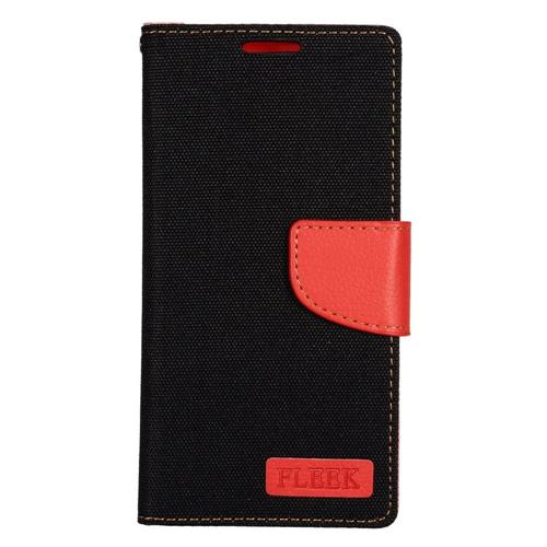 Insten Flip Leather Fabric Case w/stand/card slot/Photo Display For Samsung Galaxy S7, Black/Red