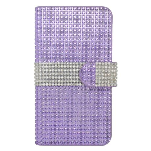 Insten Folio Leather Diamond Cover Case w/card holder For Samsung Galaxy S7, Purple/Silver
