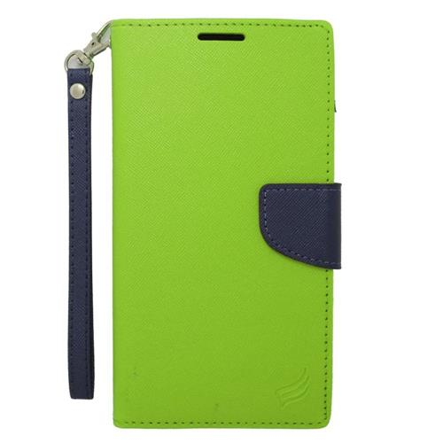 Insten Flip Leather Case w/stand/card holder/Photo Display For Samsung Galaxy Mega 2, Green/Blue