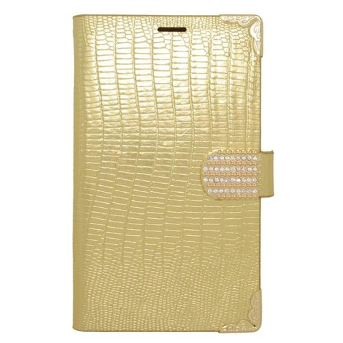 Insten Book-Style Leather Fabric Cover Case w/card slot/Diamond For Samsung Galaxy Note Edge, Gold