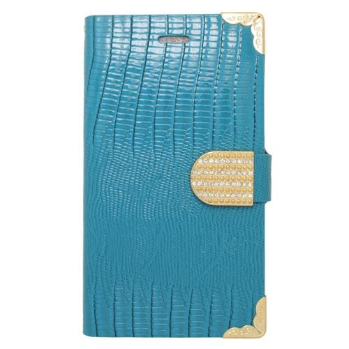 Insten Folio Leather Case w/card holder/Diamond For Samsung Galaxy Note Edge, Light Blue/Gold